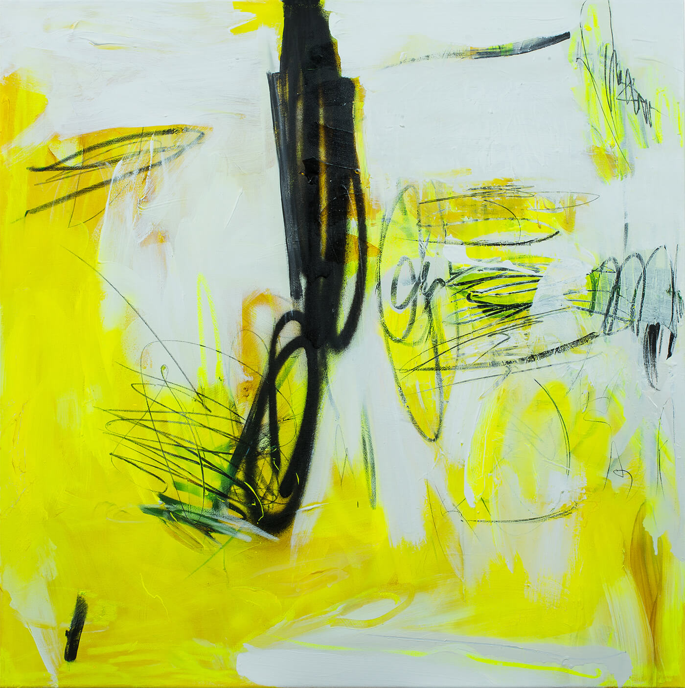 floating connected yellow black painting abstract expressionism contemporary art