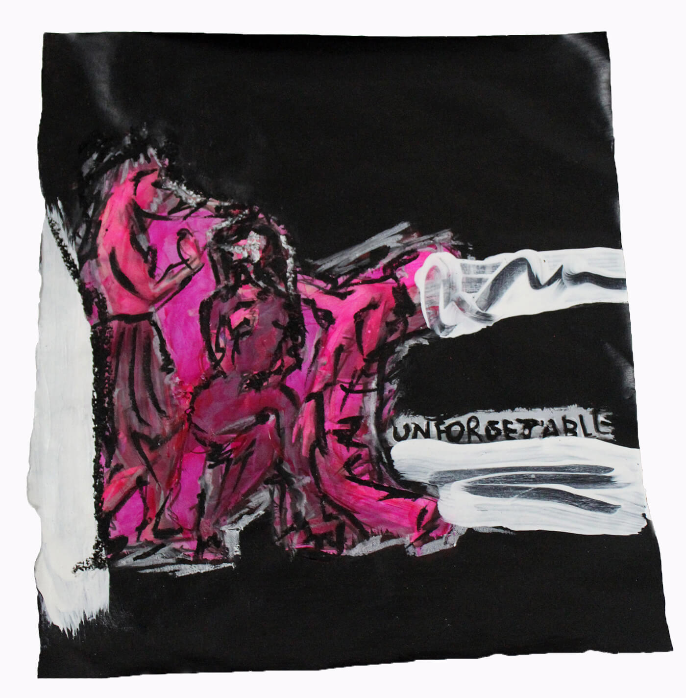 quo vadis abstract artwork black white pink