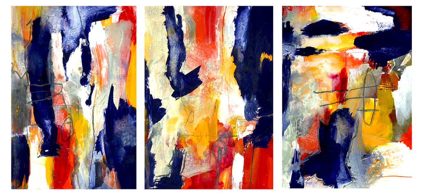 abstract expressionism paper blue red yellow white universe individuality