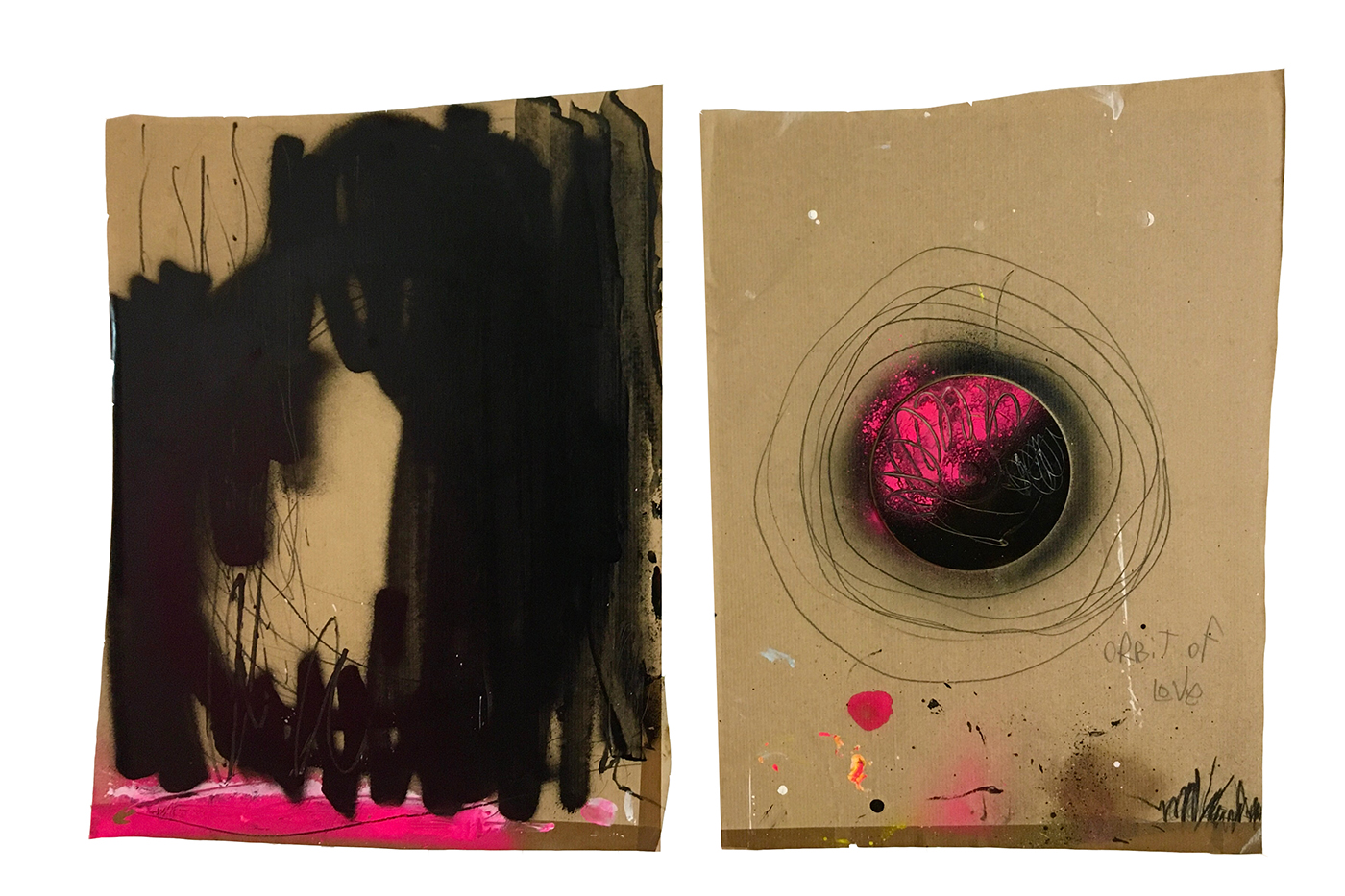 orbit of love pink black mixed media abstract artwork assemblage Petronilla Hohenwarter the circle