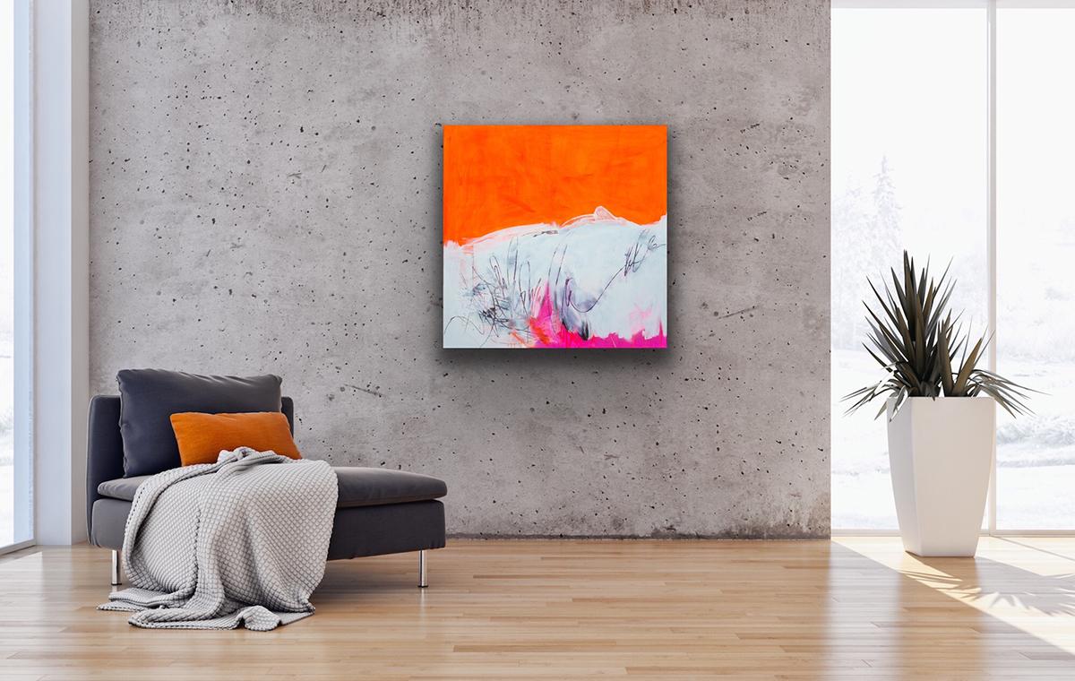 abstract painting orange kunst wohnen interior art petronilla hohenwarter informelle Malerei
