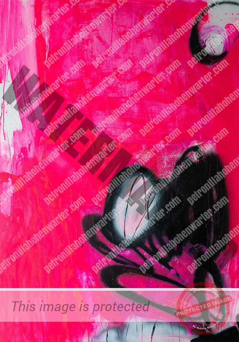 circle of love pink black abstract painting expressionism Petronilla Hohenwarter