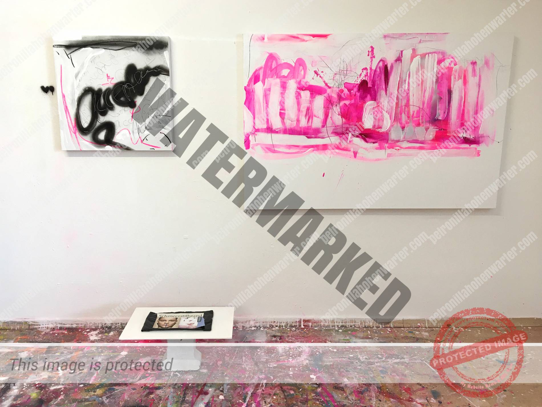 art installation schmerzstillstand Petronilla Hohenwarter acceptance detachment love pink black artwork canvas collage