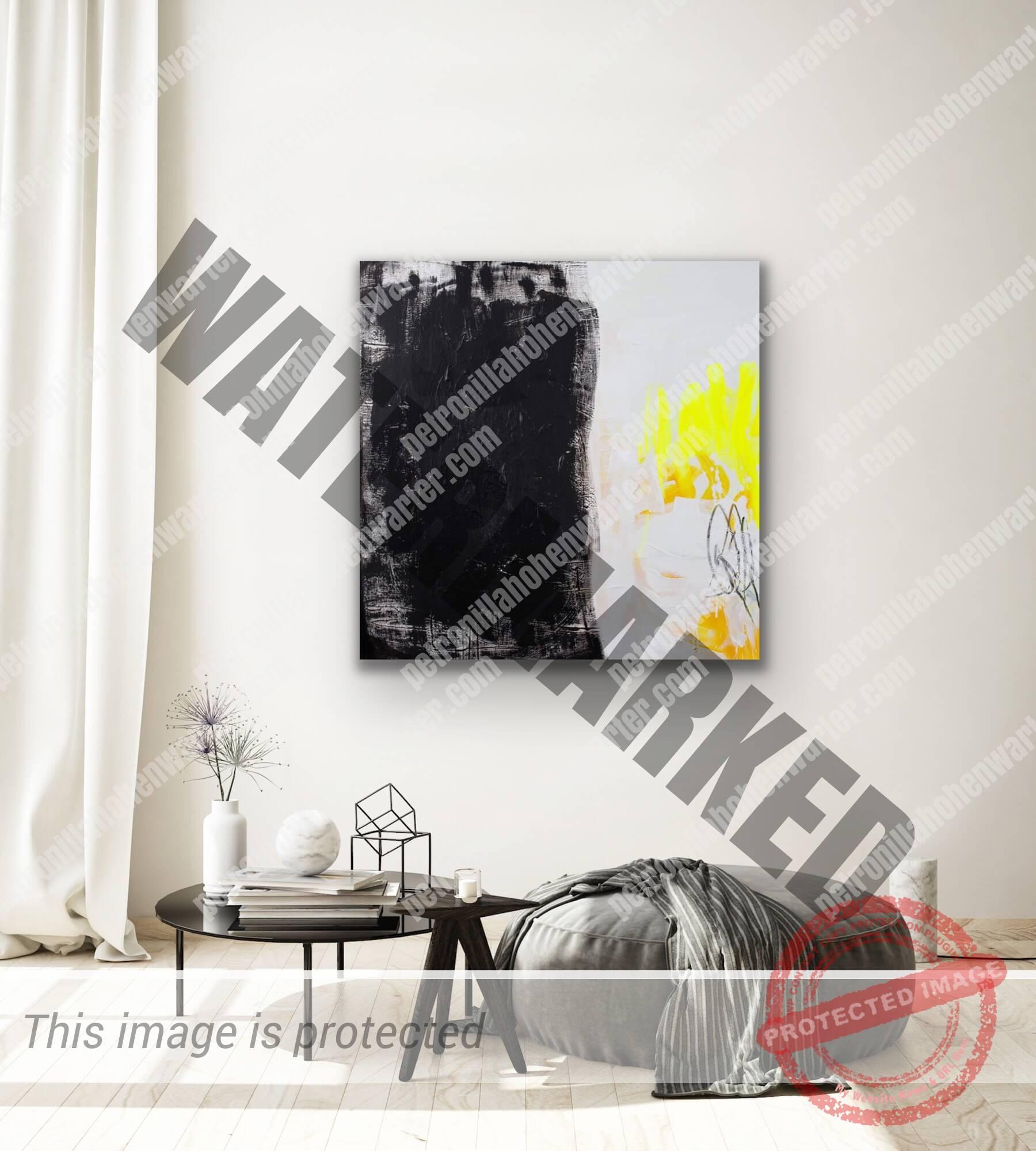 contemporary art collector pandoras box Petronilla HohenwARTer art and living interior design abstract art black yellow