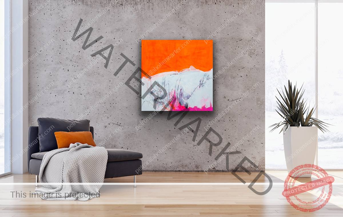abstract painting orange kunst wohnen interior art petronilla hohenwarter informelle Malerei